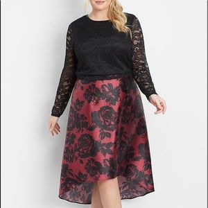 PLUS Maurices Merlot Floral High Low Skirt